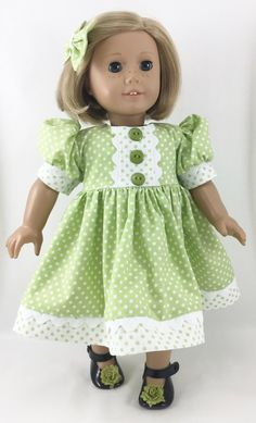 """Fits 18"""" Dolls Like American Girl™ Green and White Polka Dot Short Sleeved Dress and Matching Hairbow"""