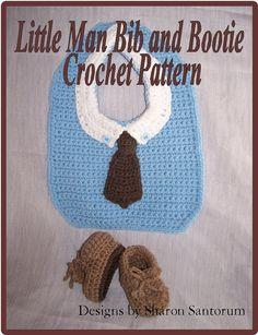 Little Man Bib and Bootie Crochet Pattern PDF- INSTANT DOWNLOAD