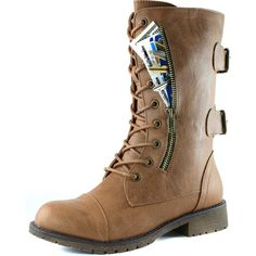 Women's Military Lace Up Buckle Combat Boots Mid Knee High Exclusive Credit Card Pocket, Tan PU, 5