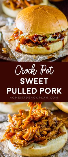 Crock Pot Sweet Pulled Pork! Transform your favorite BBQ sauce into deliciously sweet pulled pork that goes perfectly with just about any sandwich or taco topping. | HomemadeHooplah.com