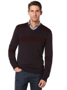 543b1204ae Engineered Stripe V-Neck Sweater Man Dressing Style