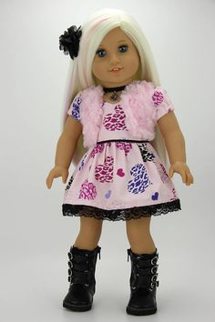 Handmade 18 inch doll clothes  Pink and black 4 piece