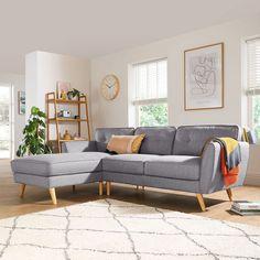 Corner Sofa Living Room, Scandi Living Room, Grey Corner Sofa, Corner Sofa Design, Home Living Room, Living Room Grey, Living Room Designs, Grey Furniture, Bedroom Furniture Sets