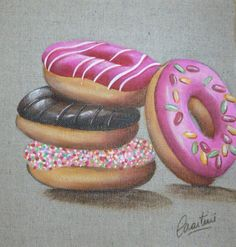 Donuts malen – My painting – Mes tableaux - Art Drawings Sketches Simple, Realistic Drawings, Colorful Drawings, Colored Pencil Artwork, Color Pencil Art, Colored Pencils, Donut Drawing, Food Drawing, Food Painting