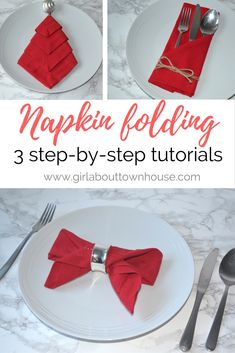 Napkin folding: 3 ideas for your Christmas table - Girl about townhouse Three step-by-step napkin folding tutorials to help you create a stunning table. Perfect for Christmas or your next celebration. Easy Napkin Folding, Christmas Napkin Folding, Christmas Tree Napkins, Christmas Table Settings, Christmas Table Decorations, Holiday Tables, Christmas Crafts, Christmas Napkin Rings, Xmas