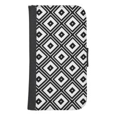 This Samsung Galaxy S4 phone wallet case features a contemporary retro abstract pattern of nested black and white diamond squares.