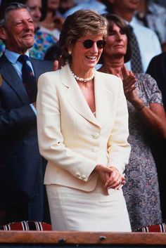 1995 The late Princess Diana never failed to look the part and a visit to Wimbledon was no exception. Diana looked immaculate in a cream suit and chunky pearls as she sat in the Royal Box   Marie Claire