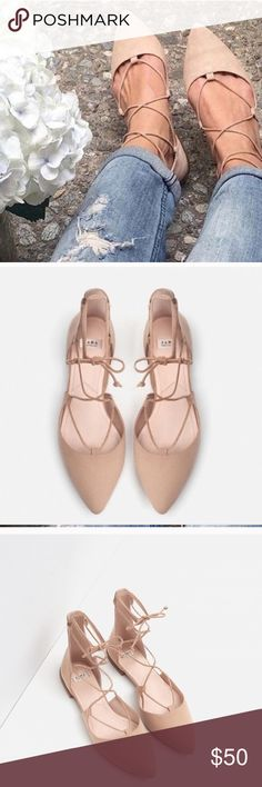Zara laced up ballerina flats Zara laced up ballerina flats. Like new condition. Beige/tan color Zara Shoes Flats & Loafers