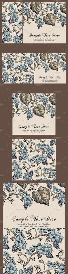 Set Flowers Grapes Card Frame. Wedding Card Templates