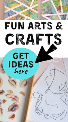 Fun ways to make DIY arts and crafst at home. Easy ideas for kids that are still fun crafts for adults too. Unique ideas for arts and crafts for every season. See the big list of fun craft ideas… Craft Projects For Adults, Crafts For Kids To Make, Diy Craft Projects, Craft Ideas, Fun Arts And Crafts, Easy Diy Crafts, Toddler Activities, Fun Activities, Adult Crafts
