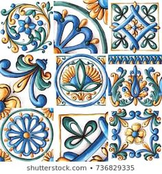 Majolica, vintage ornaments on the antique tiles, watercolor , Tole Painting, Painting & Drawing, Robin Photos, Devian Art, Italian Tiles, Antique Tiles, Italian Pottery, Decoupage Vintage, Blue Tiles