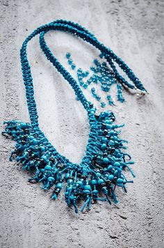 Turquoise macramé necklace with beads by Asgardienne on Etsy
