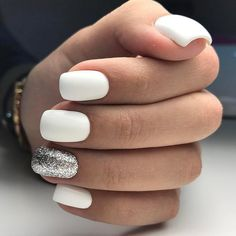 White with a glitter nails.