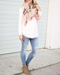 Scarves  Sweaters  Ripped jeans  Booties  #FallStyle