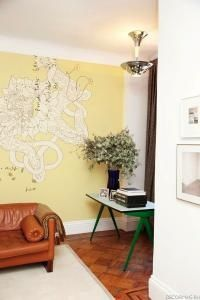 Map on a yellow wall