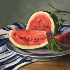 This still-life painting of sliced watermelon on a plate with a blue and white hand towel was created in a direct alla prima method, painted