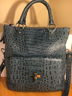 Talbots Croc Embossed Genuine Leather Handbag Purse w/ Detachable Shoulder Strap #Talbots #HandBag
