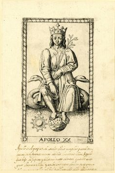 WL male figure, frontal view, seated on two swans; wearing a crown and holding a laurel branch, his feet resting on a celestial globe; after the so-called Tarocchi Cards of Mantegna.  Engraving
