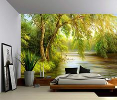 Patio Ideas Discover Tree River Bank Summer Landscape - Large Wall Mural Self-adhesive Vinyl Wallpaper Peel & Stick fabric wall decal Vinyl Wallpaper, Adhesive Wallpaper, Forest Wallpaper, Bedroom Wallpaper, Tree Wallpaper, Large Wall Murals, Mural Wall, Wall Art, Forest Mural