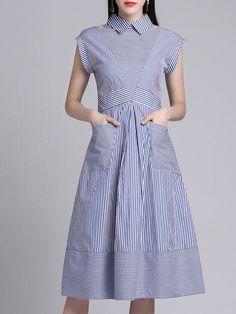 #AdoreWe #StyleWe Midi Dresses - Designer MULTIFLORA Blue Casual Shirt Collar Stripes Folds Midi Dress - AdoreWe.com