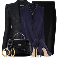 A fashion look from January 2015 featuring River Island blouses, Balmain blazers and Roland Mouret skirts. Browse and shop related looks.