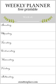 Weekly Planner Free Printable | Coordinates with the 2016 Printable Monthly Calendars and Year At A Glance Calendar. Instant PDF download available.