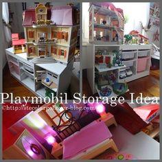 Les playmobils, celà prend de la place. Les playmobils, celà prend la poussière (hum ! -rires -). Les playmobils sont faits pour jouer. Une idée : des étagères coulissantes !? Au départ, je voulais construire complètement un meuble adapté en médium, j'avais...