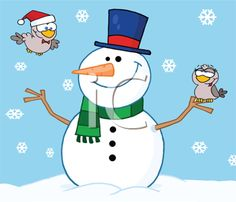 Royalty Free Clipart Image of a Snowman With Cute Birds