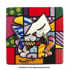 Blue Cat is stylish and colourful and is one of the Romero Britto range of raised in relief porcelain pictures, designed to hang on your wall, or stand on a plate stand.  Glossy and bright, each picture tells its own colourful story of pure happiness and shows Romero Britto's designs at their best.  LxWxH: 15.00 x 15.00 x 1.00 cm.