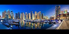 Dubai — Dubai Marina Yatch Club Panorama. The view from our flat in Horizon Tower.