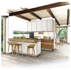 Interior Architecture Drawing, Interior Design Renderings, Drawing Interior, Interior Rendering, Interior Sketch, Home Interior, Kitchen Interior, Architecture Design, Design Kitchen