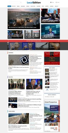 LocalEdition - News WordPress Magazine Theme LocalEdition is a Modern design approach to News website layouts. When designing this theme, goal was to make it in a way that a user is able to see more news at a glance. News Website Design, Website Layout, Website Themes, Web Layout, Website Ideas, Ui Website, Layout Design, Modern Design, Web Design