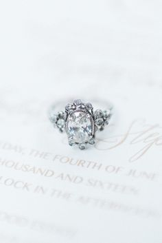 Fairytale engagement ring. Photography : Ashley Link Photography Read More on SMP: http://www.stylemepretty.com/ohio-weddings/mansfield-ohio/2016/08/13/elegant-european-garden-inspired-editorial-shoot/