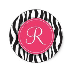 Girly Pink Monogram Zebra Print Stickers. These are adorable!
