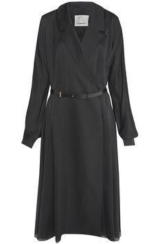 Шелковое платье Jason Wu - Шелковое платье с запахом и длинными рукавами Jason Wu украшено двубортным воротником в интернет-магазине модной дизайнерской и брендовой одежды