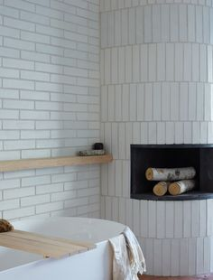 the optimal tile for executing unique pattern installation - architect's palette. Tile Layout Patterns, Subway Tile Patterns, Subway Tiles, Subway Tile Fireplace, Bathroom Fireplace, Bathroom Renos, Bathroom Ideas, Bathroom Organization, Bathroom Inspiration