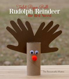 This toilet paper roll reindeer kid craft is easy, quick, inexpensive and best of all super cute with your little ones handprint as the antlers.
