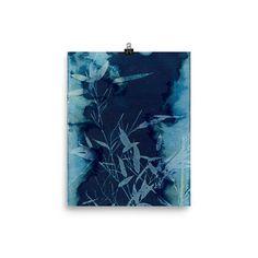Art Print INKY BAMBOO cyanotype art #photo #photography #alternativeprocess #nature #botanical #cyanotype #sunprint #art #artist #blueart