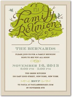 Family Tree Reunion Party Invitations Templates Invitation