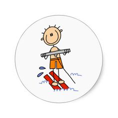 Stick Figure Water Skiing Stickers