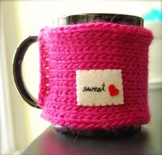 Sweet Heart Mug Cozy - Hot Pink Knitted Coffee Cosy Made to Order (inspiration!)