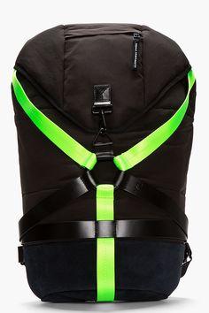 Y-3 Black suede & nylon harness backpack