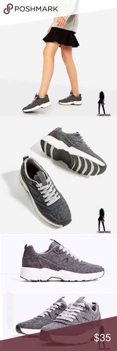 Zara Felt Lace up Sneakers 7.5 From Zara. Grey felt sneakers. Contrasting materials. Pull tab on back and on tongue. Braided black and white laces. Contrasting color rubber sole. Zara size 38 which is US 7.5 Zara Shoes Athletic Shoes