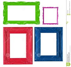 colourful photo frames | Four contemporary picture frames in high resolution vibrant colors.