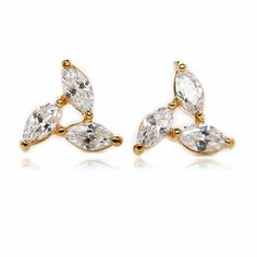 Pinwheel Pave Setting Boat Cubic Zirconia Gold Plated Stud Earrings