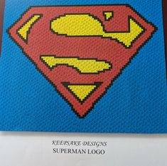 Superman Logo – Teen/Adult Size C2C Crochet Blanket Afghan Graph Pattern – 90x75 C2C crochet squares #affiliate