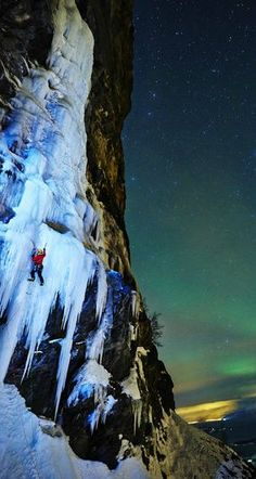Climbing an iceflow during the Northern Lights.