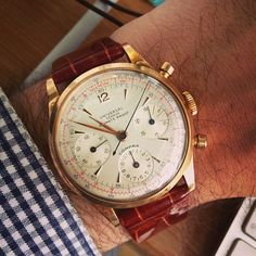 hodinkee:  Oversized pink gold climate-proof UG Compax today. Circa 1951. (at HODINKEE Headquarters)