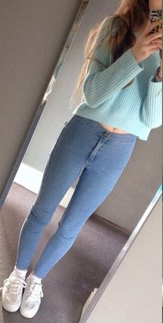 Light Blue Crop Top Sweater with Jeggings and White Sneakers!! Beautiful and Perfect for Winter! Might need another Sweater for a cover up because it might get to cold!