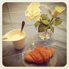 Good morning! Multi-grain croissant with soy milk. #healthyfood #breakfast - @melissazino- #webstagram